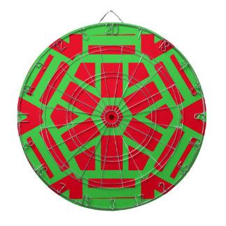 Cibles De Fléchettes Géométrique orienté de vacances vertes rouges
