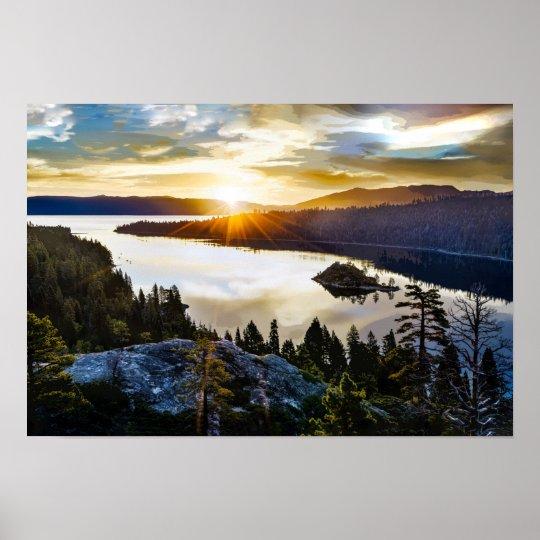 Ciel brillant à la baie verte le lac Tahoe la Poster