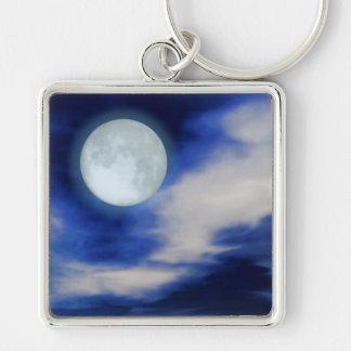 Ciel nocturne avec la lune et les nuages porte-clés