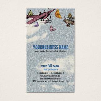 Ciel vintage - avions et papillons cartes de visite