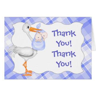 Cigogne et carte de remerciements jumeau de bleu