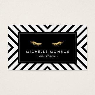 Cils d'or avec le motif noir et blanc de mod carte de visite standard