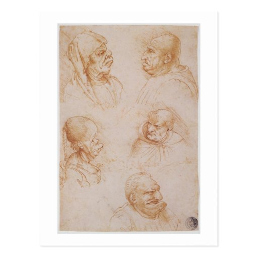 Cinq études des visages grotesques (craie rouge su cartes postales