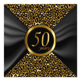 cinquantième Années d'or avec le satin noir Carton D'invitation 13,33 Cm