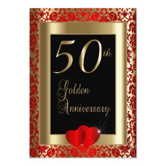 cinquantième Anniversaire de mariage d'or Carton D'invitation 12,7 Cm X 17,78 Cm