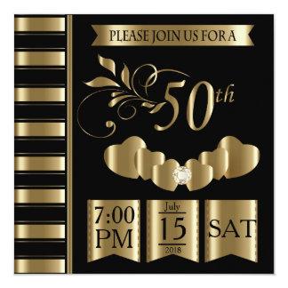 Cinquantième anniversaire de mariage d'or heureux carton d'invitation  13,33 cm