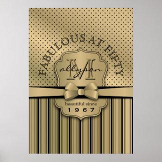 cinquantième Arc de rayures de point de polka d'or Poster