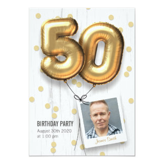 cinquantième Ballons adultes d'or d'invitation de Carton D'invitation 12,7 Cm X 17,78 Cm