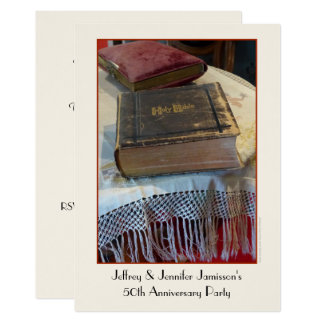 cinquantième Bible de cru d'invitation de fête Carton D'invitation 12,7 Cm X 17,78 Cm