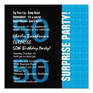 cinquantième Bleu de turquoise moderne Carton D'invitation 13,33 Cm