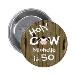 Cinquantième bouton personnalisé d'anniversaire de badge rond 5 cm