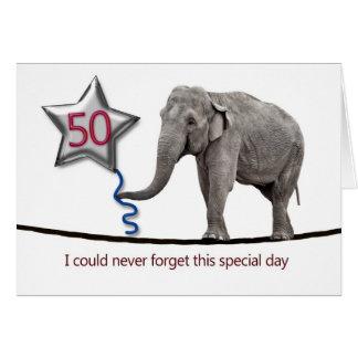 cinquantième Carte d'anniversaire avec l'éléphant