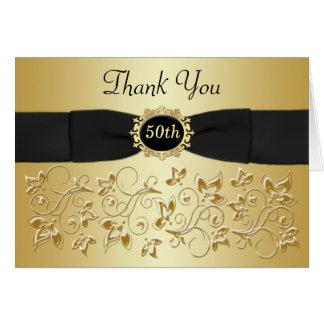 cinquantième Carte de remerciements floral d'or