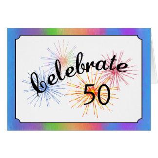 cinquantième Célébration d'anniversaire Carte De Vœux