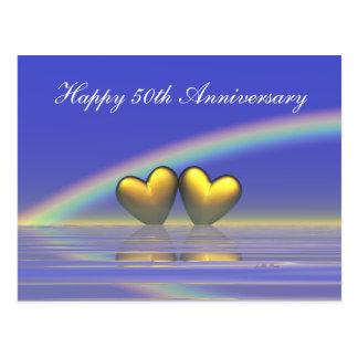 cinquantième Coeurs d'or d'anniversaire Cartes Postales