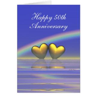 cinquantième Coeurs d'or d'anniversaire (grands) Carte De Vœux