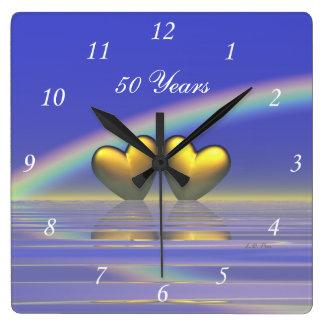 cinquantième Coeurs d'or d'anniversaire Horloges