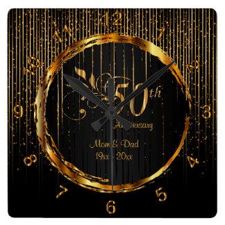Cinquantième conception d'or moderne horloge carrée