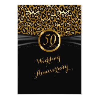 cinquantième Conception exotique de léopard Carton D'invitation 12,7 Cm X 17,78 Cm