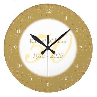 cinquantième Confettis de la poussière d'or Grande Horloge Ronde