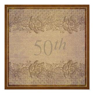 cinquantième Coutume florale d'or de fête Carton D'invitation 13,33 Cm