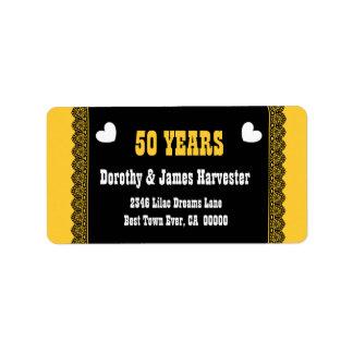 cinquantième Dentelle et coeurs V01 de noir Étiquette D'adresse