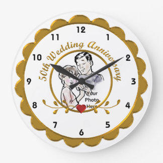 cinquantième Horloge murale d'anniversaire de