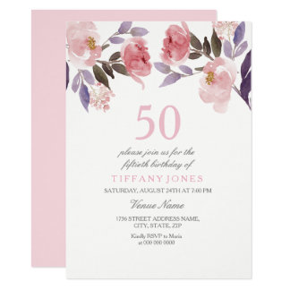 Cinquantième invitation d'anniversaire d'aquarelle
