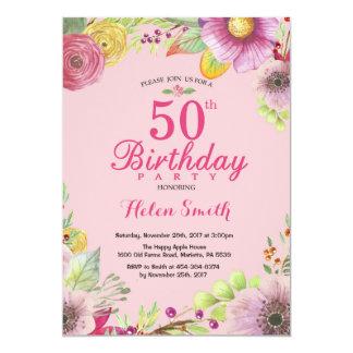 Cinquantième invitation florale d'anniversaire
