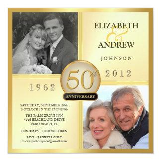 cinquantième Invitations de photo d'anniversaire