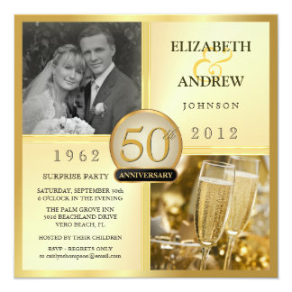 cinquantième Invitations d'or de fête
