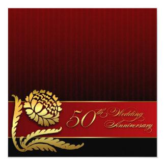 cinquantième invitations d'or rouges