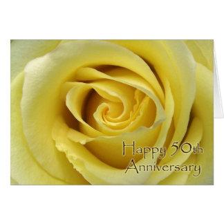 cinquantième L'anniversaire de mariage, s'est levé Carte De Vœux