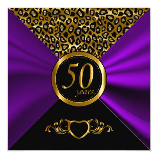 cinquantième Motif de léopard de l'anniversaire de Carton D'invitation 13,33 Cm