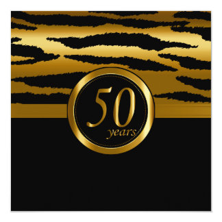 Cinquantième motif heureux de zèbre des années   carton d'invitation  13,33 cm