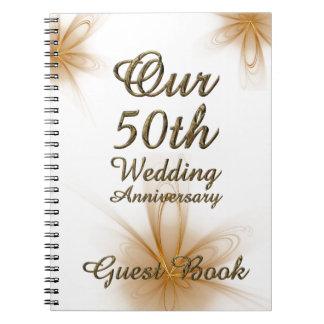 cinquantième Or de livre d'invité d'anniversaire