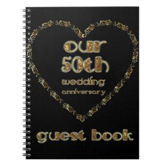 cinquantième Or de noir de livre d'invité