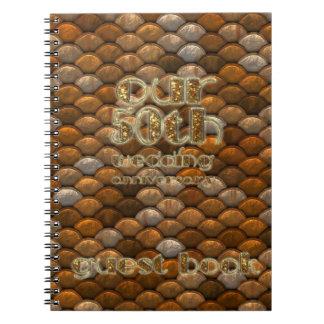 cinquantième Or d'en cuivre de livre d'invité