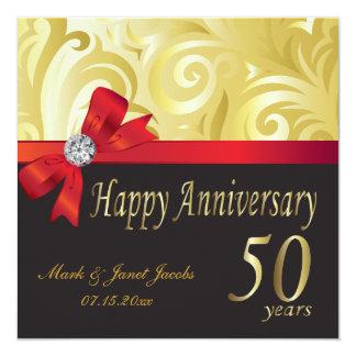 Cinquantième remous heureux d'or de l'anniversaire carton d'invitation  13,33 cm