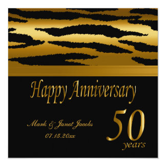 Cinquantième zèbre heureux de l'anniversaire de carton d'invitation  13,33 cm