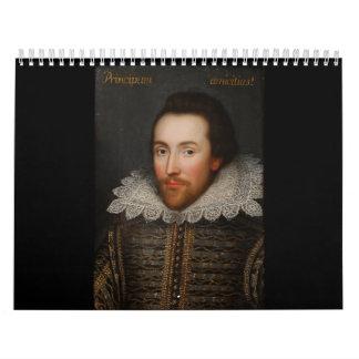 Circa 1610 van het Portret van William Shakespeare Kalender