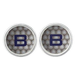 Cirkels & Stip met Blauwe Initialen Manchetknopen
