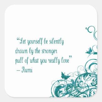 Citation d'amour de Rumi Sticker Carré