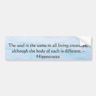 Citation de droits des animaux de Hippocrate Autocollant De Voiture