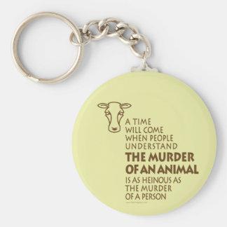 Citation de droits des animaux, végétarien porte-clé rond