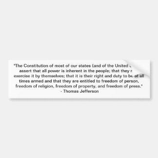 Citation de Thomas Jefferson - constitution Autocollant De Voiture