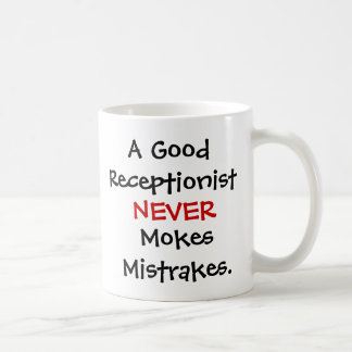 Citation drôle de plaisanterie de réceptionniste mug