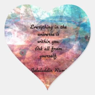 Citation élevante de Rumi au sujet d'énergie et Sticker Cœur