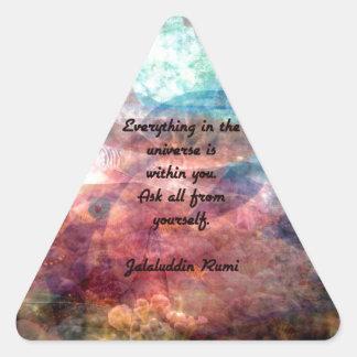 Citation élevante de Rumi au sujet d'énergie et Sticker Triangulaire