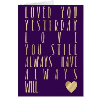 Carte Citation romantique d'or de Valentines de carte